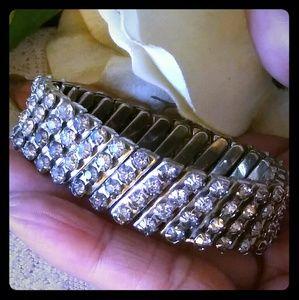 Vintage Expandable Prong-set Rhinestone Bracelet